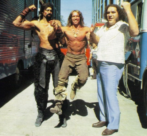 Arnold Schwarzenegger lifted by Andre the Giant and Wilt Chamberlain